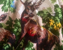 1960s tablecloth - 1960s fabric - stags fabric - dog material - deer  fabric- woodland - forest scene -