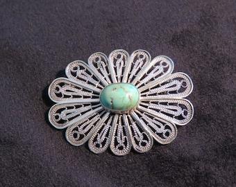 Sterling Silver Malachite Filigree Pin Brooch,  Vintage  Silver Necklace, Filigree Silver Necklace