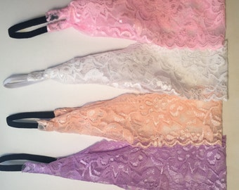 4-Pack of Lovely, Romantic Lace Headbands, Pastel Colored Lace Headbands, Pink, Peach, White and Lavender Lace Headbands, Adult Headbands