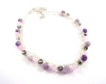 Silvery necklace with purple and grey pearls , silvery  wire .
