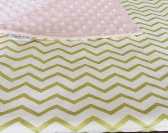 Pink and Gold Chevron Baby Blanket, Pink and Gold Baby Shower, Blush Pink Gold Baby Blanket, Gold Chevron Baby Blanket, Blush Baby Blanket