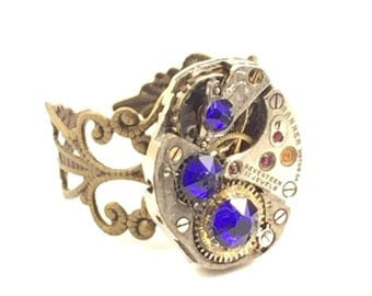 ROYAL BLUE Steampunk Vintage Ring