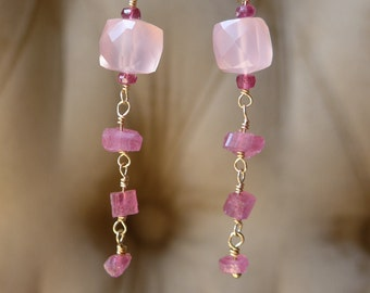LAST ONE: Tourmaline Rough Earrings, Raw Tourmaline Earrings, Pink Tourmaline, Pink Chalcedony Earrings, Pink Earrings, Dangling Earrings