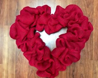 Valentine Wreath, Burlap Valentine Wreath, Heart Wreath,Rustic Valentine Decor, Burlap Wedding, Rustic Wedding, Burlap Christmas Wreath