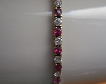 Faux Diamond and Ruby Tennis Bracelet