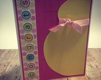Handmade Pregnancy Congrats Greeting Card; It's a Girl Congrats Greeting Card