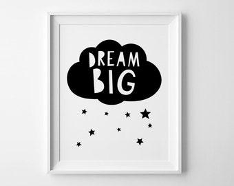 Dream big wall art print, playroom print, nursery art, affiche scandinave, nursery wall print, kids room decor, dream big print, kids prints
