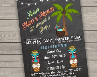 hawaiian baby shower invitation, chalkboard baby shower invites gender neutral printable couples baby shower pool party invitations luau
