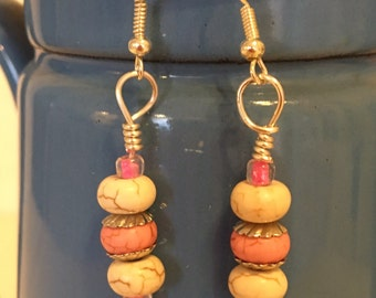 Pink and White Pierced Earrings