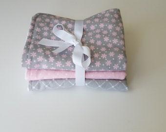 Gray and Pink Burp Cloths (Set of 3)