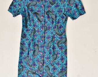 Vintage 80s Paisley Print Dress