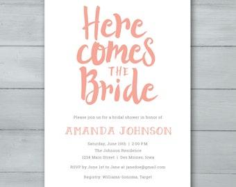 Bridal Shower Invitation  |  Here Comes The Bride Shower Invitation  |  Bridal Shower Invite