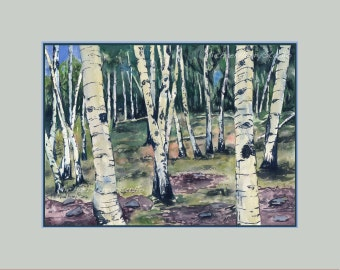 Aspen Trees, Watercolor Giclee Print, Landscape, Colorado Art, Southwestern Art, Aspen Forest, Unframed