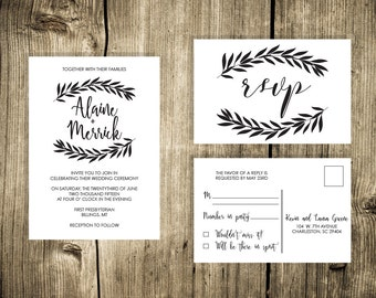Modern Calligraphy Black and White Wreath Wedding Invite
