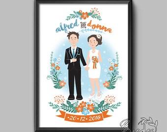 Digital Customized Couple Wedding Portrait Whole Body