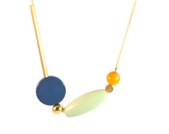 Spring 2016 geometric asymmetric beaded necklace - vintage remix /deconstructed necklace beads, gold and brass - Color block - blue denim grey