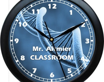 "Biology Teacher Clock 10"" Personalized Wall Clock Biology Teacher Gift Classroom Earth Science"