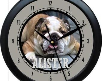 """Bulldog 10"""" Personalized Wall Clock Gift"""