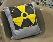 Radioactivity Symbol Handmade T-Shirt Decorative Throw Pillow | Nuclear Fallout Shelter Themed Pillow | Sign, Or Nuclear Medicine. Grey Navy