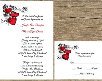 100 Personalized Custom Printed Red Heart Swirl Wedding Invitations Set RSVP Reception
