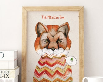 "The Mexican Fox / A3 (11.7"" x 16.5"") Artprint, Print, Poster, Red, Cactus, Animal"