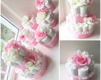 Pink Flower Diaper Cake Centerpiece and 5 matching centerpieces, Baby Shower Centerpieces/ Gift
