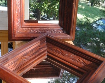 Two Small Mirrors, Square Dark Carved Wood Framed Decorative Mirrors