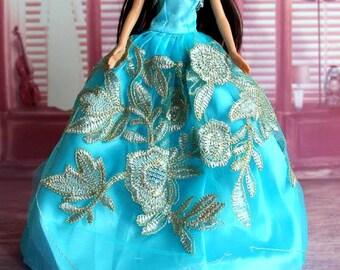 Barbie doll clothes, satin barbie gown, barbie clothes, Barbie dress, Barbie ballgown, Barbie doll, Barbie fashion, Barbie clothing
