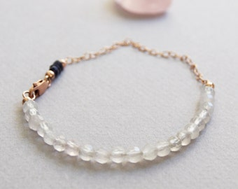 Delicate Rose Quartz & Iolite Gemstone Bracelet w/ 14k Rose Gold, Minimal Healing Beaded Jewelry 2mm Blue 4mm Pink Semi Precious Stone Beads