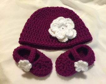 Baby Hat with Mary Jane Booties