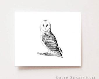 Nursery wall art, Owl - Fine art Giclee print, charcoal drawing, black and white nursery, nursery art, nursery decor, baby shower gift ideas