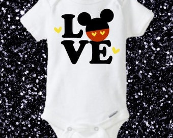 Personalize, Mickey Mouse Onesie, Mickey Head, Disney, Valentines Day