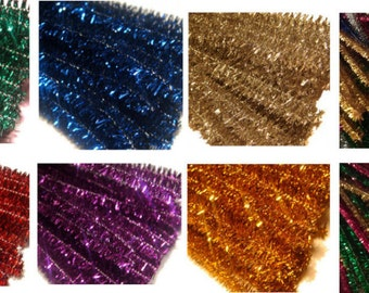 50 x Glitter sparkle 30cm craft tinsel chenille pipe cleaners stems for Needle felting figures