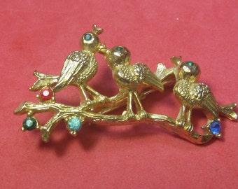 VINTAGE Antique Brooch Jeweled Birds