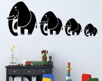 Four Elephants Wall Decal Sticker