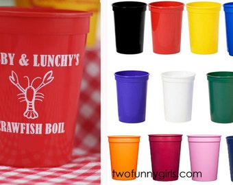 Personalized Crawfish Boil/Crab or Lobster Bake Party Stadium Cups {12 oz}