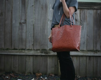 Hand Stitched OOAK Brown Leather Tote, Chestnut Top Grain Leather bag.