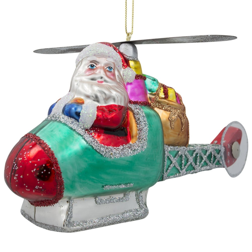 L santa claus helicopter pilot blown glass christmas