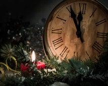 Christmas clock cross stitch pattern
