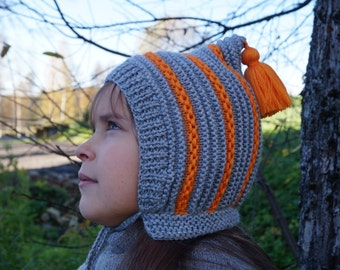 Pixie hat. Handmade knitted Baby Pixie Hat. Hat with pom pom. Toddler hat. Knitted Hat. Warm knitted hat. Elf hat. Spring hat. Grey hat