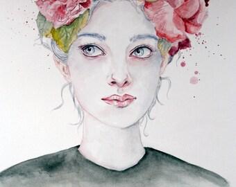 Floral Femininity | A Study in Watercolor | Original Watercolor Portrait | 9 x 12 in