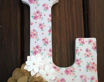 Beautiful Floral Shabby Chic Wooden Letter