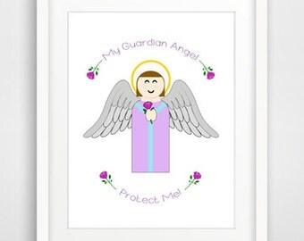 Nursery Wall Print - Guardian Angel, Protect Me - Downloadable Catholic Art Print