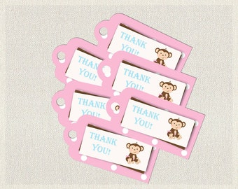 Printable Monkey Favor Thank You Tags Pink Blue Brown |  Favors Tags  Baby Shower Girl BS-132