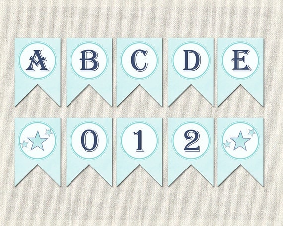 whole alphabet banner blue glitter baby shower banner bunting
