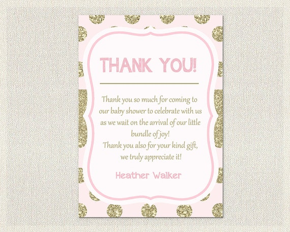 Glitter Baby Shower Thank You Card Glitter Gold Pink Thank You Note