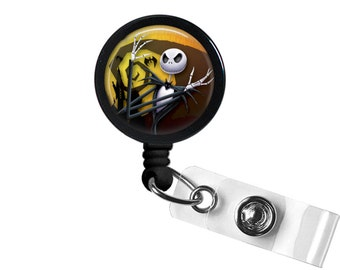 Yellow Jack Skellington The Nightmare Before Christmas Photo Glass / Bottle Cap Retractable ID Badge Reel