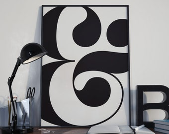 Ampersand black and white print with free delivery. Unique gift. Minimal, typographic home decor wall art print.