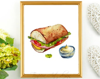Sandwich Print, Kitchen Art, Kitchen Print, Food Art, Food Print, Sandwich Print, Meal Art, Eat Your Sandwich, Sandwich Printable Wall Art