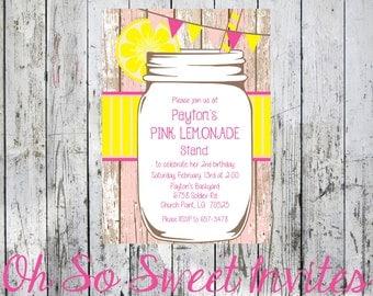 Lemonade Birthday Invite - Pink & Yellow Birthday Invite - Pink and Yellow Lemonade Birthday Invitation